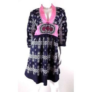 Odd Molly Navy Pink 24 Twenty Four Squares Dress